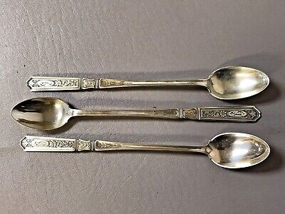 Set of 3 Antique Gorham Sterling Ice Tea Spoon St Dunstan Chased W// Mono