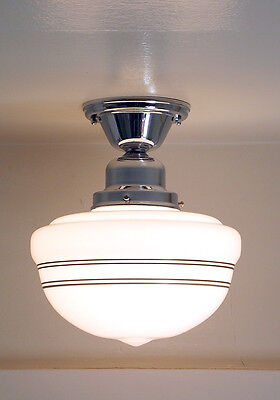 Schoolhouse Ceiling Light Fixture (with  Black Painted Bands)