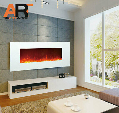 "(Pre-Order) 1500W 50"" White Wall Mounted Electric Fireplace, Heater, Fire, Flame"