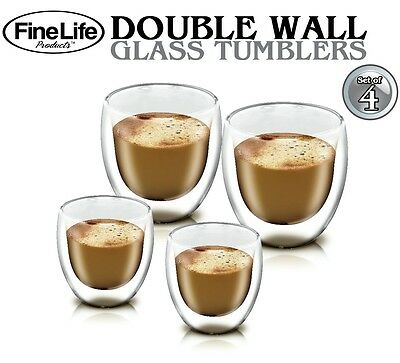 Double Wall Glass Tumbler Set of 4 Drinking Glasses coffee tea Water clear glass