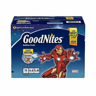 GoodNites Bedtime Underwear for Boys S/M 74 Count