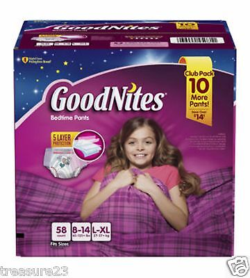 GoodNites Bedtime Underwear for Girls Size:L/XL  58 Count