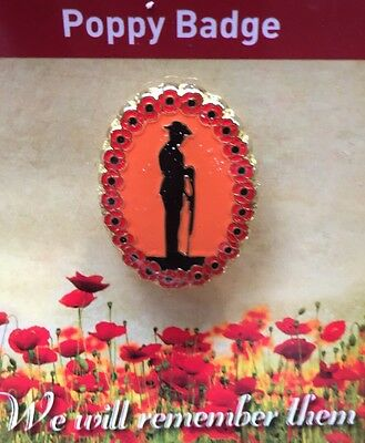 Going Down of the sun Poppy Lapel Pin on Card * ANZAC Day * REMEMBRANCE Day