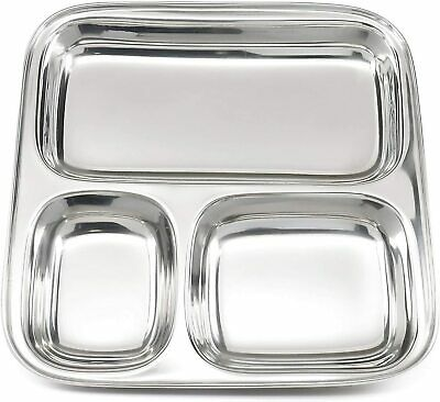 3 Compartment Stainless Steel Food Serving Dish Thali Indian Balti Dinner Plate