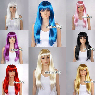 UK SELLER Straight Long Party Wig 60CM Women Girls Anime Cosplay Wig 13 Color