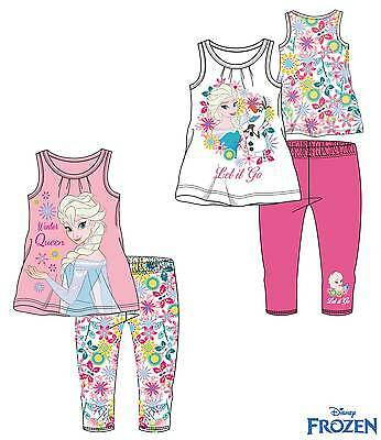 Girls Frozen T-Shirt & Leggings Set Elsa Anna Olaf New Official 100% Cotton
