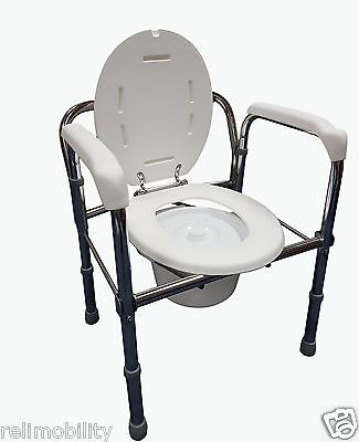 Folding Steel Commode / Toilet Surround - Removable Backrest Pail With Lid