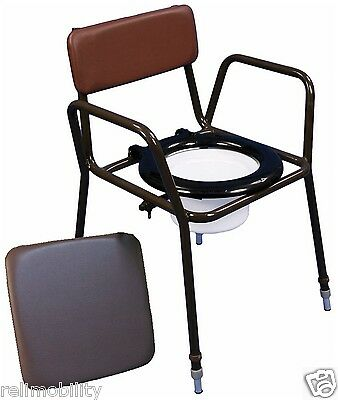 Lightweight Steel Stacking Height Adjustable Commode With Removable Pail Lid