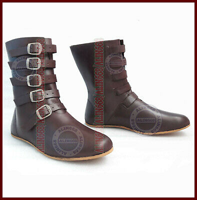 Medieval Leather Boots Brown Reenactment Mens Shoe Larp Role Play Costume Boot f