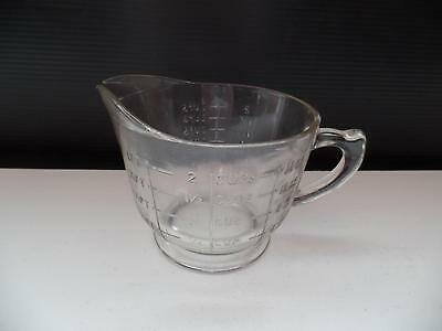 SPRY Clear Glass Measuring Mixing Pitcher 16oz 2 Cup Footed Raised Letters Vtg