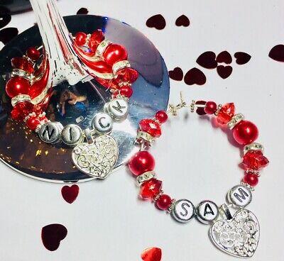 PERSONALISED  HEART WINE GLASS CHARMS VALENTINES DAY gifts for her him boyfriend