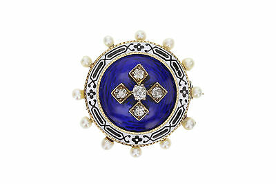 Victorian Pearl Diamond and Enamel Mourning Brooch
