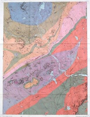 USGS WILLIMANTIC, CONNECTICUT GEOLOGY MAP, Full Color, Original Sleeve, 1964