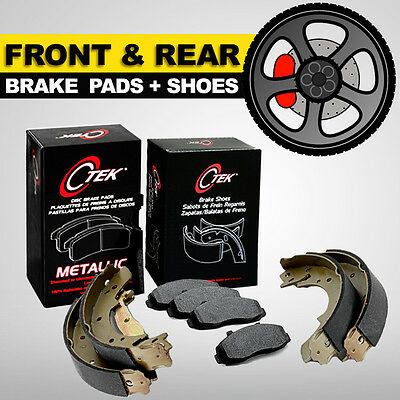 FRONT + REAR Brake Pads + Shoes 2 Complete Sets Toyota Corolla 2003-2008, USA