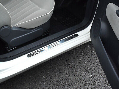 Chrome Stainless Steel 2pc Inner Line Door Sill Protector Cover for Fiat 500