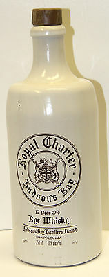 Royal Charter (Hudson's Bay) Rye Whiskey Stoneware Bottle w/ Stopper