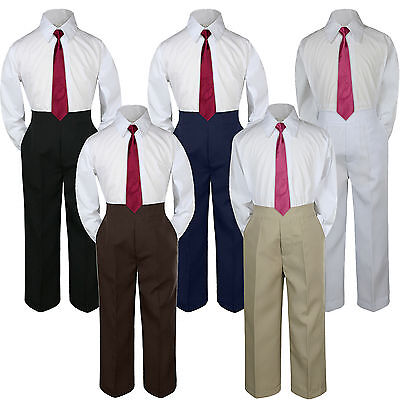 3pc Burgundy Marron  Tie  Suit Shirt Pants Set Baby Boy Toddler Kid Uniform S-7