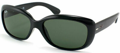 Authentic Ray Ban RB 4101 Jackie Ohh 601 Black Plastic Sunglasses Green Lens
