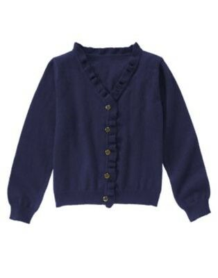 Gymboree Ciao Puppy Navy Ruffle Neck Cardigan Sweater 4 5 6 7 8 Nwt