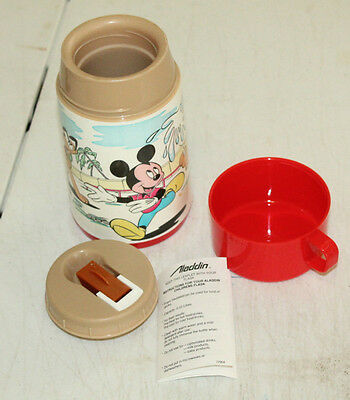 NOS Vintage Disney Mickey Mouse Lunchbox Plastic Thermos by Aladdin 8 oz.