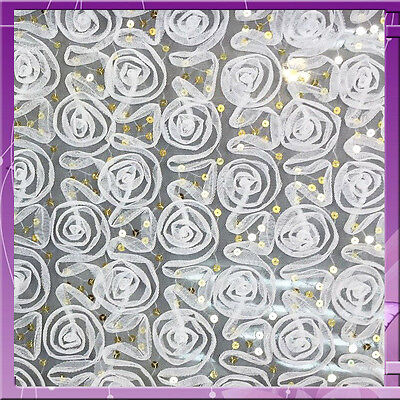 """60"""" w Off white rosettes w Small gold sequin on mesh Fabric by the yard"""