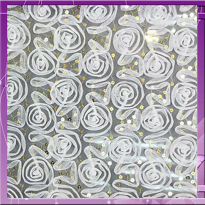 Rosette Sequin Mesh 60 Inches Wide Fabric Sold Bty Off White