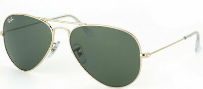 68bcbb14824 Authentic Ray Ban RB 3044 L0207 Gold Petite Fit Small Aviator Sunglasses  Green