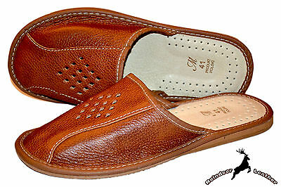 Mens 100% Buffalo Leather Tan House Slippers Shoes Sandal Slip On Made In Poland