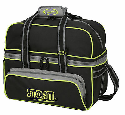 Storm DELUXE 2 Ball Bowling Bag Tote Black Grey Lime