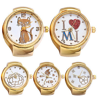 Lady Girl Tone Round Elastic Alloy Quartz Watches Finger Ring Watch Hot Gift