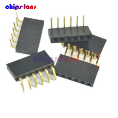 50PCS 1x6Pin Header 2.54mm Pitch Right Female Angle Single Row Socket Connector