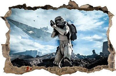 WALL STICKERS Hole in the wall STAR WARS Stormtrooper Vinyl Decor Mural 101