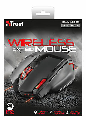 Trust 20687 Gxt130 Wireless Optical Gaming Mouse With Adjustable 800 To 2400 Dpi