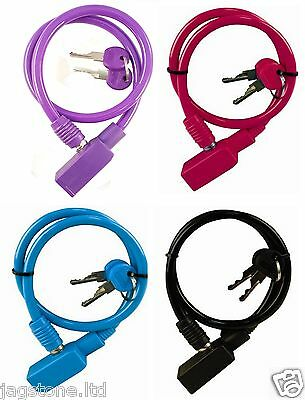 BIKE CABLE LOCK CYCLE BICYCLE STEEL CABLE 2 KEYS SECURITY PADLOCK 56cm x 8mm
