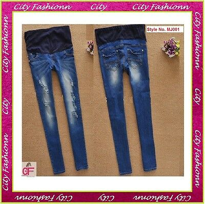 Blue Grunge Super Skinny Maternity Jeans Pregnancy wear Size 6 8 10 12 14 -MJ001