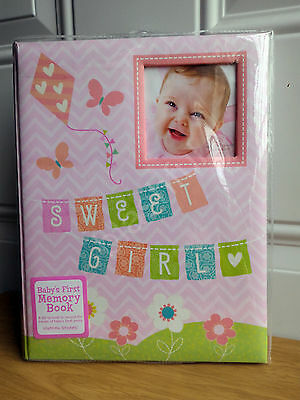 *NEW* CR Gibson Pink Sweet Baby Girl Spring Chevron Floral Memory Keepsake Book