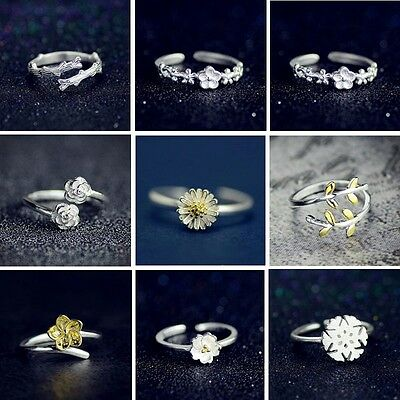 NEW Fashion Women Silver Flower Adjustable Ring Gold Decor Lady Jewelry Gift