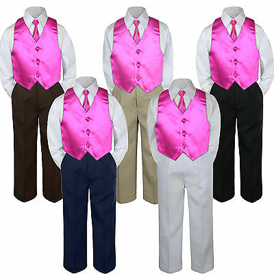 4pc Fuchsia Hot Pink Vest & Tie  Suit Set Baby Boy Toddler Kid Uniform S-7