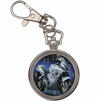 New White Bike Motorcycle Key Chain Keychain Pocket Watch