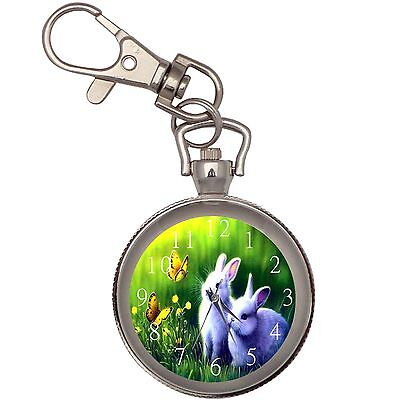 New Bunnies And Butterflies Key Chain Keychain Pocket Watch