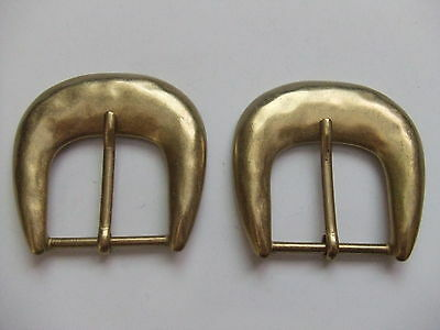 Lot Of 2 Hammered Style Brass Plated Buckles By Rhode Island Buckle Co.USA