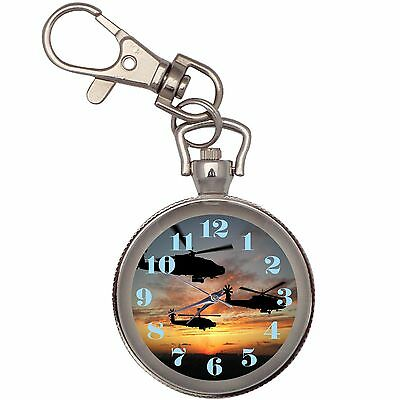 New Helicopter Sunrise Key Chain Keychain Pocket Watch