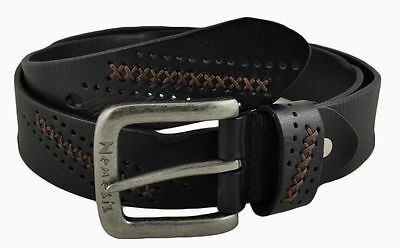 Nemesis Black Perforated and Cross Stitched Leather Belt Size 32-38 Vintage Styl