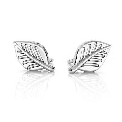 FASHIONS FOREVER® 925 Solid Sterling Silver Evergreen Leaf Stud Earrings