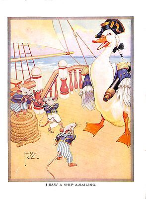 I saw a ship a - sailing.Mice.Duck.Music.Naval.Lawson Wood.1910.Childrens print