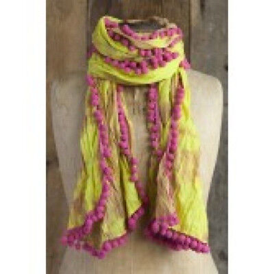 Scarf Shawl Wrap Funky Fun NATURAL LIFE 100% Cotton Pom Pom Fringe Tie Dye