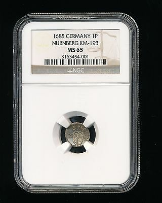 1685 Germany One Pfennig 1P Nurnberg KM-193 NGC MS 65