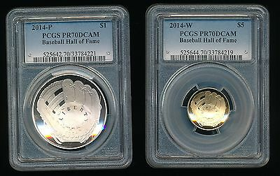 2014-P 2014-W Baseball Hall of Fame $5 Gold and Siver Dollar $1 PCGS PR 70 DCAM
