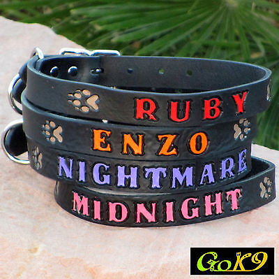 """1"""" Dog Collar. Lg Black Leather Personalized Pet Name, Opt. Phone #"""