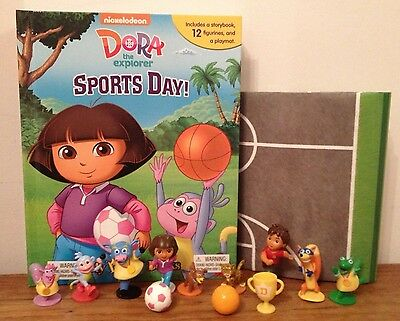 NEW Dora The Explorer Sports Day My Busy Book +12 Character Figurines & Playmat
